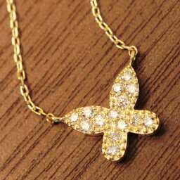 K18 K10 ダイヤモンド ネックレス バタフライ 蝶 パピヨン ダイアモンド diamond Necklace gold パヴェダイヤ