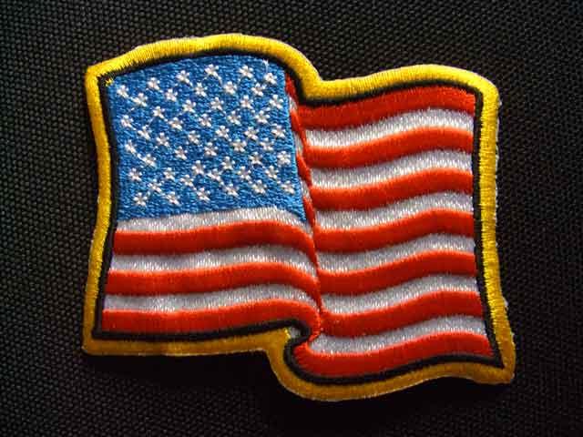 アメリカ国旗ワッペン「波形」「カラー」【ネコポスOK】【アイロン接着】【USA】【星条旗】