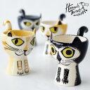 Hannah Turner(ハンナターナー)Egg cups Cat エッグカップ 猫モチーフ(エッグスタンド ゆで卵 スタンド型 たまごたて 猫 ねこ ネコ キャットモチーフ 陶器 せっ器 小物入れ)