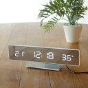 シャープ×モダンなデザインの電波LED時計【送料無料】I.D.E.A(イデアインターナショナル)電波LEDミラークロック(温度 湿度 付き 卓上時計)ホワイト/ホワイトLED【10P12Jun12】