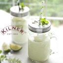 RoomClip商品情報 - KILNER(キルナー)HANDLED JAR 0.4Litre with FLOWER LID(ハンドルジャー フラワーリド)(ジャー メイソンジャー グラス スクリュートップ フタ ストロー ドリンク タンブラー)