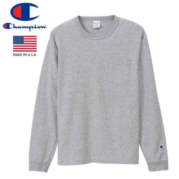 CHAMPION T1011 LONG SLEEVE T-SHIRT POCKET 【MADE IN U.S.A.】 チャンピオン T1011 ロングスリーブ Tシャツ ポケット OXFORD GREY