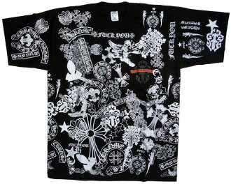 Chrome multi motif print T shirt black