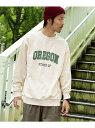 [Rakuten Fashion]カレッジロゴスウェットプルオーバー Sonny Label サニーレーベル カットソー スウェット ホワイト ブラウン グリーン【送料無料】