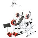 マルチフルセット 赤ラバー100kg[WILD FIT ワイルドフィット] 送料無料 バーベル ベンチプレス トレーニング器具 マルチベンチ スクワット 大胸筋 腹筋