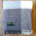 イギリス Tweedmill ツイードミル ウールブランケット-ベージュブロックチェック