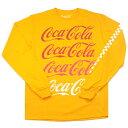 Coca-Cola OFFICIAL【レア★公式ライセンス★チェッカー柄の袖プリント】長袖 Tシャツ【オレンジイエロー】新品 コカコーラ メンズ ロゴT JUNK FOOD ジャンクフード Urban Outfitters TOPMAN ASOS PACSUN パクサン 企業ロゴ USA直輸入【オフィシャルグッズ】