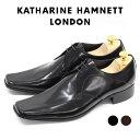 ショッピングハム キャサリン ハムネット 靴 ビジネスシューズ 3948 黒 ダークブラウン KATHARINE HAMNETT LONDON 本革 紳士靴 スワールトゥ【送料無料】