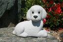【送料無料】トイプードル犬[御影石](寝そべり型)【石の置物・オーナメント】