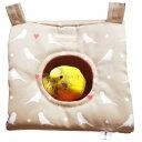 ミニミニさんかくトンネル(セキセイインコプリント):ベージュ / 小鳥 インコ ハウス おもちゃ