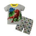 恐竜 パジャマ グレー 綿100% 恐竜柄 半袖Tシャツ  ショットパンツ セット男の子 パジャマ 子ども 子供 キッズ パジャマ 半袖 寝巻き 灰色