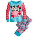 新入荷!ミッキー&ミニーちゃん 水色 長袖Tシャツ ロングパンツセット 女の子 パジャマ 子供 子ども 上下セット 長袖 パジャマ 寝巻き