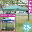 【送料無料】テント タープテント 2.5m ワンタッチ タープテント 2.5x2.5m (グリーン) & スクリーンメッシュ(蚊帳)セット【代引き不可】