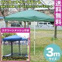 【送料無料】テント タープテント 3m ワンタッチ タープテント 3x3m (グリーン) & スクリーンメッシュ(蚊帳)セット【代引き不可】