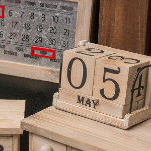 カレンダー/卓上/アンティーク/アンティークキューブカレンダー/40578
