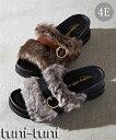 ショッピング低反発 フェイクファーサンダル(低反発中敷)(ワイズ4E)23.0-26.5cm 靴(シューズ) 大きなサイズ 30代 40代 50代 女性 大きいサイズ レディース 黒/ブラウン 幅広サンダル 痛くない 外反母趾