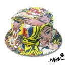 ショッピングイラスト ARAINA デザイン・バケットハット アメリカンコミック コミックカラー 帽子 サファリハット ポップアート イラスト柄
