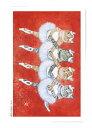 B0030 猫ポストカード アートボードバレリーニャ【小さい四羽の白鳥】北田浩子