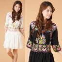 [new work] ★Embroidery, exotic tunic dress ethnic style 】 [black / ivory] that gorgeous flower embroidery silk chiffon one piece ★【 is delicate [yimo15975] Mother's Day / spring / ethnic / Lady's / [RCP]