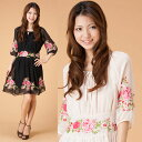 [new work] ★Embroidery, exotic tunic dress ethnic style 】 [black / ivory] that gorgeous flower embroidery silk chiffon one piece ★【 is delicate [yimo15989] [there is big size XL] Mother's Day / spring / ethnic / Lady's / [RCP]