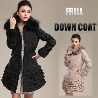 ☆ Raccoon fur with full ruffle hem down coat ☆ ethnic / women /