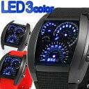 スピードメーター風LEDデジタル腕時計 タコメーター デイデイト日付表示トリプルカレンダーウォッチ メンズ腕時計 auktn 送料無料 LED003