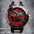 デュアルタイム アナデジ腕時計 デジアナ HPFS622-RDSV アナログ&デジタル ダイバーズウォッチ風 3気圧防水 ラバーベルト クロノグラフ トリプルカレンダー バックライト アラーム 時報 メンズ腕時計 auktn 送料無料