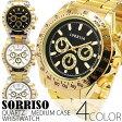 正規品SORRISOソリッソ 定番デザインにゴールドカラーの腕時計 フェイククロノグラフ フェイクダイヤル SRHI10 メンズ腕時計 auktn 送料無料
