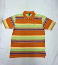 【送料無料】【あす楽】【中古】Polo by Ralph Lauren ラルフローレン マルチボーダーポロシャツ オレンジ×ネイビー×イエロー×ライトブルー×ライトグリーン×ホワイト BOY'S L