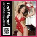 サンタ衣装 リボンのセクシーテディ クリスマスの赤いランジェリーコスチューム2点セット WB-W6275
