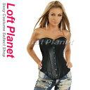 ボンテージのレザーコルセット ホック&編み上げ セクシーコスチューム黒 特大サイズあり s1408-2340