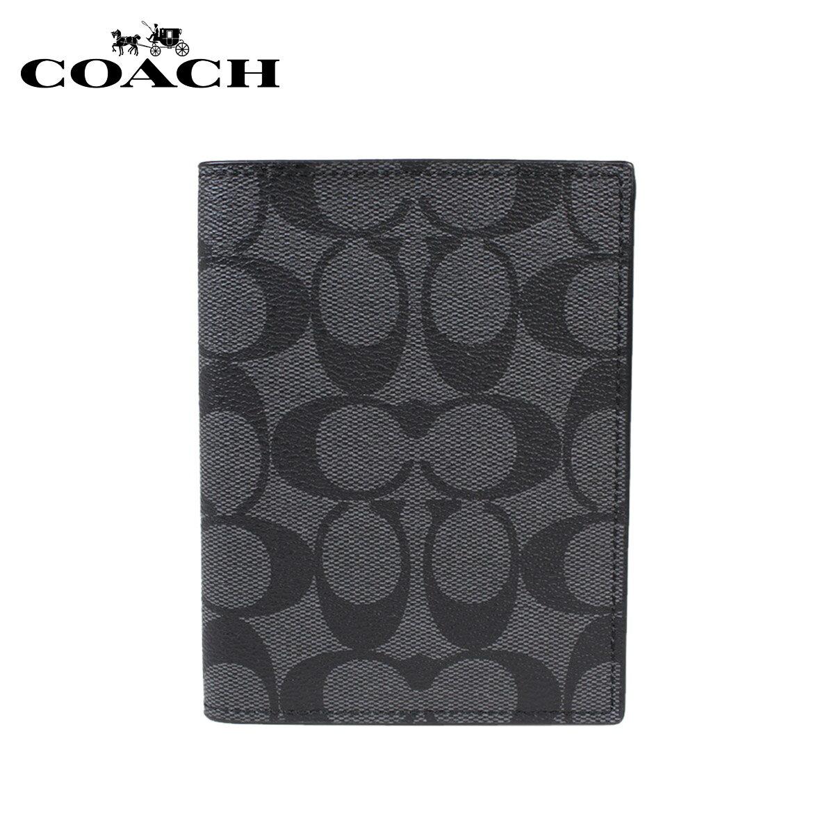 [SOLD OUT] コーチ COACH パスポートケース パスポートカバー F93518 チャコール ブラック レディース  初回交換 送料無料  コーチ アウトレット COACH 正規  通販