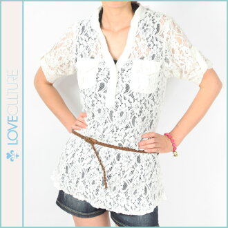 Women's ラブカルチャー LOVE CULTURE shirt [White] race [1 / 10 new in stock] [regular]