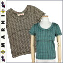 [clean sweep festival] Maruni MARNI short sleeves T-shirt [brown green] check cotton Lady's [authorized comfort free shipping tomorrow] [T] [Father's Day]