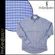 送料無料 イヴサンローラン Yves Saint Laurent Yシャツ [ブルー×ホワイト] 544 BARREL CUFF チェック フォーマル コットン メンズ [ 正規 あす楽 ]【バレンタイン】