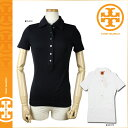 28122191 Tolly Birch TORY BURCH short sleeves polo shirt [black white] CLASSIC POLO W GOLD HARDWARE cotton Lady's BLACK WHITE Tory burch TORYBURCH [authorized comfort free shipping tomorrow] [Father's Day]