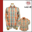 Double are L RRL DOUBLE RL Ralph Lauren long sleeves button shirt [an orange X multi-] MC267 check cotton Lady's [4/4 Shinnyu load] [authorized comfort free shipping tomorrow] [Father's Day]