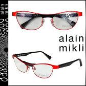 アランミクリ alain mikli メガネ 眼鏡 レッド ブラック メタルフレーム メンズ レディース