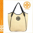 [SOLD OUT]送料無料 トリーバーチ TORY BURCH レディース かごバッグ トートバッグ 19149622 255 ナチュラル × ブラック STRAW SMALL SLOUCHY TOTE [ 正規 あす楽 ]