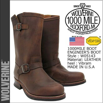 Wolverine WOLVERINE 1000 mile 10 inch Engineer Boots W05143 1000 MILE 10 inch ENGINEER BOOT leather men's Wolverine