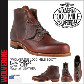 Wolverine WOLVERINE 1000 mile plain toe boots W05299 1000 MILE BOOT ORIGINAL leather men's Wolverine
