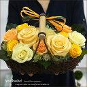 誕生日 お見舞い 花 プレゼント 結婚祝い 結婚式 電報 祝電 プリザーブドフラワー アイアンバスケットB 送料無料 オレンジバラ 傘寿 米寿