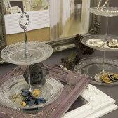 お茶にしましょう!食卓を飾るハイティープレートアフタヌーンティー用ガラスの2段ディッシュお茶会パーティーのしゃれたお皿おしゃれなディスプレーサンドイッチやスコーンクッキー・ケーキを載せて