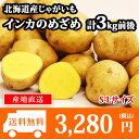 北海道産 じゃがいも インカのめざめ S-Lサイズ 3kg前後 送料無料 ◆出荷予定:10月中旬-11月上旬 /ジャガイモ/じゃが芋