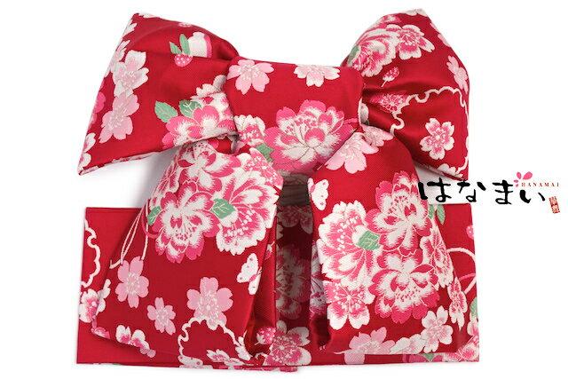 作り帯 はなまい 七五三 赤 レッド 桜 花 古典柄 結び帯 ひな祭り 日本製 七才 七歳…...:so-bien:10092638