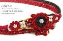 帯締め 成人式 振袖 礼装 晴着 赤 レッド つまみ細工 パール 金糸 正絹 盛