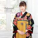 袴セット ブランド bonheur saisons(ボヌールセゾン) 黒系 ブラック 黄色 菊
