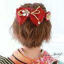 髪飾り 2点セット 赤 レッド リボン 梅 花 つまみ細工 ...