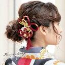 髪飾り 3点セット 成人式 卒業式 赤 ピンクマゼンタ 和柄 リボン 縮緬 花