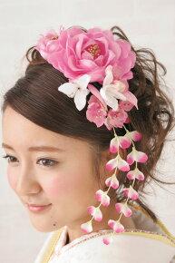 ピンク系,着物スタイルにおすすめ,髪飾りセット